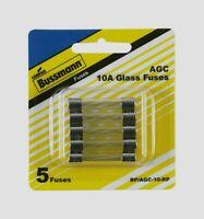 Bussmann Buss 10 amps 250 volts AGC Automotive Fuse Glass Tube 5pk BP/AGC-10-RP