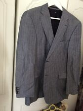 Mens Strellson Casual Blazer Jacket Blue Grey Herringbone Wool Linen EUSize50vgc