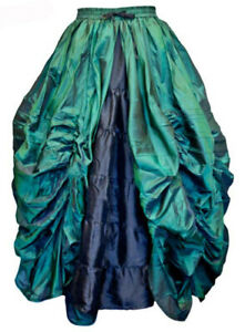 Dark Star Skirt Long Green. Double Layered With Ruched Over Skirt Size 14