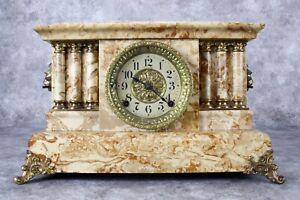 Antique Seth Thomas Faux Marble Mantle Clock Lions Parts or Repair