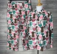 Sleep Sense Women's Coffee Print Portuguese Flannel 2-Piece Pajama Set Size L