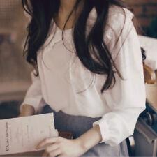 Elegant Girls Peter Pan Collar White Blouse Long Sleeve Sweet Classic Shirt Tops