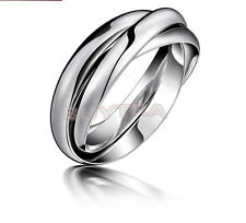Wedding Ring Fashion Silver Plated Triple Interlocked Rolling Adjustable