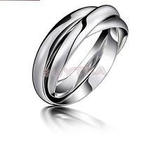 Wedding Ring Fashion Silver Plated Triple Interlocked Rolling Adjustable CA EF