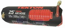 TEKTON 25-Foot by 1/4-Inch Recoil Coiled Air Compressor Hose Swivel Ends 4625