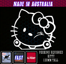 Hello Kitty style Squished Sticker -  White  Funny JDM Decal Vinyl Baby on Board