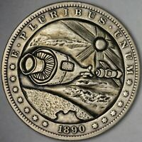 1890-O USA ORIGINAL HAND CARVED SPACE HOBO NICKEL MORGAN SILVER DOLLAR #3 (DR)