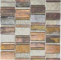 Glas JB9 Mosaikfliesen silberfarben