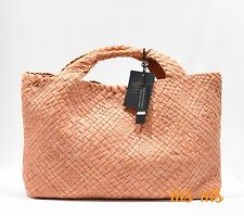 Womens PEACH FALOR DESIGNER HAND woven leather Hobo tote Handbags With Pouch