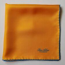 Ben Silver Silk Handkerchief Pocket Square in yellow with blue border 42cm