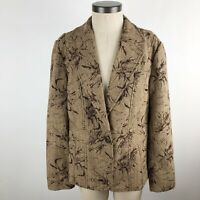 Coldwater Creek Women's Blazer Jacket Size 14 Brown One Button Lined Career