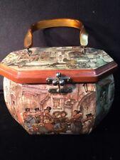 ANTON PIECK Octagon Wooden Decoupage Box-Purse Lucite Handle VINTAGE & RARE!