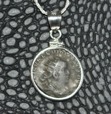 Valerian Authentic Roman Empire Silvered Coin 925 Sterling Silver Necklace