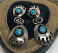 Vintage Sterling Silver Earrings 925 Bear Paw Claw Southwest Dangle Turquoise