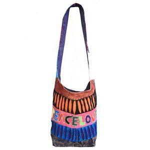 Cotton Canvas Shoulder Bag Sling Boho Beach Hippie Festival Fair Trade Gifts UK