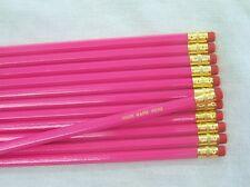 "12 Hexagon ""Deep Pink"" Personalized Pencils"