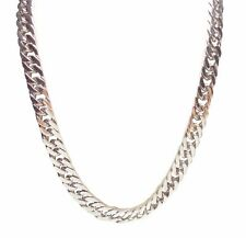 12mm Stainless Steel Silver 24 Inch Flat Curb Chain Necklace - Cuban Chain