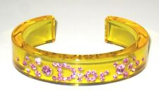 AUTH Christian Dior Lucite Perspex Swarovski Crystal Logo Bangle Bracelet Cuff