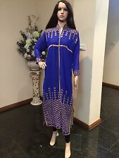 "42"" L Kurti Kurthi Jeans Top Tunic Kaftan Bollywood Indian Kurthy Boho Blue K20"