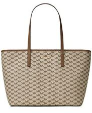 NWT MICHAEL Kors Signature Emry Large Top Zip Tote Nat/Luggage MSRP $328