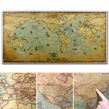 Nautical Ocean Sea World Map Retro Old Art Paper Painting Home Decor Wall Poster