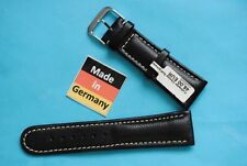 Calfskin Watch Band, Soft, Black, Made in Germany