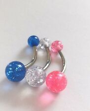 Choose a colour or 3 10mm Glitter Belly Naval bar piercing surgical steel bars
