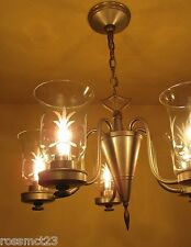 Vintage Lighting antique pewter like 1940s chandelier by Lightolier