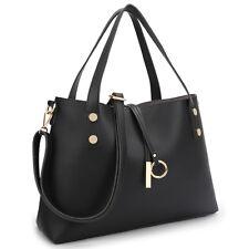 New 2in1 Women Soft Leather Tote Shoulder Bag Satchel Purse w Flowery Bucket Bag