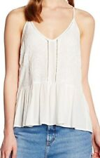 LOOK Women's Embroided Peplum Cami Tops White Size 16