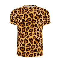 Adults Men's Leopard T-shirt Gym Tops Casual Crew Neck Shirt Short Sleeves Shirt