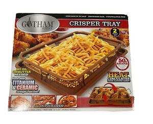 Gotham Steel Nonstick Copper Crisper Basket Tray 2 Pieces Air Oven Fryer Pan NEW