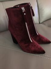 Ladies Guess burgundy wine plum velvet Ankle Boot size 3.5 New