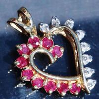 14k yellow gold pendant 0.80ct ruby diamond open heart vintage handmade 2.2gr