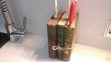 Quirky Vintage Old  Recycled Book Knife Block Holder Green