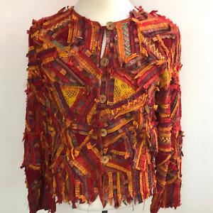 Sandy Starkman XL Orange Gold Rag Jacket Fall Boho Blazer Patchwork Fringes