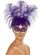 Masquerade Smiffys Fancy Purple Can Can Beauty Eyemask with Feathers