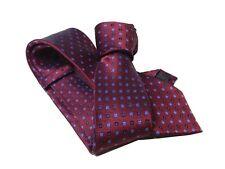 Cravatta uomo rosso scuro con microfiorellini azzurri e neri elegante