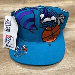 CHARLOTTE HORNETS NBA BASKETBALL VINTAGE 90s THE GAME BIG LOGO SNAPBACK HAT BNWT