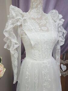 VINTAGE RARE Designer Frank Usher Lace Ivory Wedding  Dress Size UK 8 Boho Silk