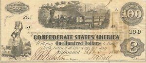 1862 $100 CONFEDERATE CIVIL WAR CURRENCY ~ LOCOMOTIVE & TRAIN ~ CHOICE CRISP UNC