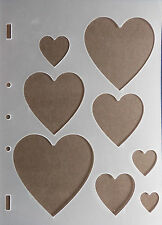 Plastic/pvc/embossing / stencil/multi/heart / various/sizes/bendy / Rough edges/faulty