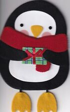 Papyrus Christmas Card Nip Msrp $8.95 Penguin Cut Out Card (G4)