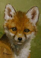 Original Animal wildlife Oil painting fox portrait ACEO MINIATURE by J Payne
