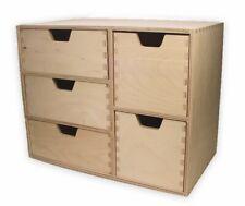 Schubladen-Regal, Schubladen-Kommode, mit 5 Schubladen, Holz unbehandelt