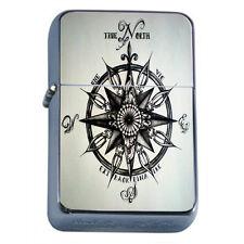 Windproof Refillable Flip Top Oil Lighter Vintage Compass D5 Nautical Navigation