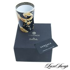 NIB Versace Home Collection x Rosenthal Black Vanity Gold Barocco Flower Vase NR