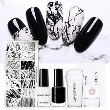 4Pcs/Set NICOLE DIARY Nagel Stamping Schablonen Stempel Stempel-Lack Nail Art