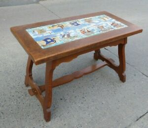 VINTAGE OAK COFFEE TABLE WITH WESTRAVEN UTRECHT TILE INLAY BRUTALIST DATED SHIP