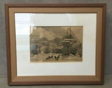"Vintage etching NAUTICAL MOTIF . 19""x 23"" . Beautiful!!!"